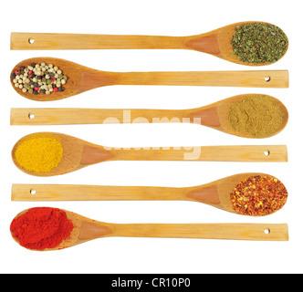 Diverses épices séchées colorées dans des cuillères en bois - persil, poivre, cardamome, curry, piment, paprika Banque D'Images