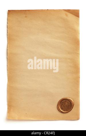 Vieux papier vierge avec sceau en cire Banque D'Images