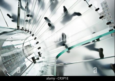 Escalier en verre dans l'Apple store sur la 5th Avenue, Manhattan, New York, USA, Amérique Latine Banque D'Images