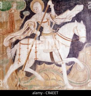George, Saint, circa 303 +, martyr, saint Helper, plafond peinture, anonyme, se battre avec le dragon, Additional Banque D'Images