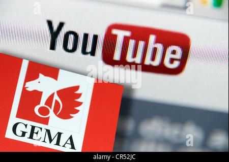 Logo du portail vidéo YouTube et logo de l'association GEMA copyright