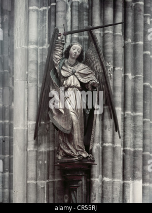 Michael, archange (Christianisme), statue de Simon Leinberger, avant 1480, Église Saint-Lorenz, Nuremberg, Allemagne, Banque D'Images