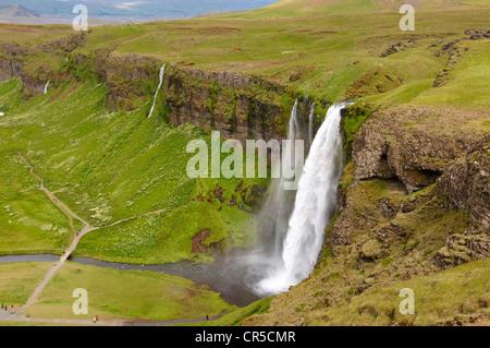 L'Islande, Sudurland Cascade de Seljalandsfoss, Région Banque D'Images