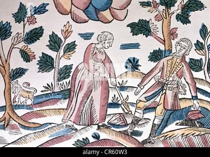 Ovid (Publius Ovidius Naso), 43 BC - 17 AD, auteur / écrivain romain, œuvres, 'Mintaamorphoses', 'Pyramus et , Banque D'Images
