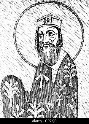 Alexios I Komnenos, 1048 - 15.8.1118, empereur romain de l'est 4.4.1081 - 15.8.1115, demi-longueur, après miniature Banque D'Images
