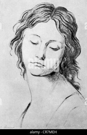 Schadow, Johann Gottfried, 20.5.1764 - 27.1.1850, sculpteur et graphiste allemand, œuvres, portrait d'une jeune fille, XIXe siècle,