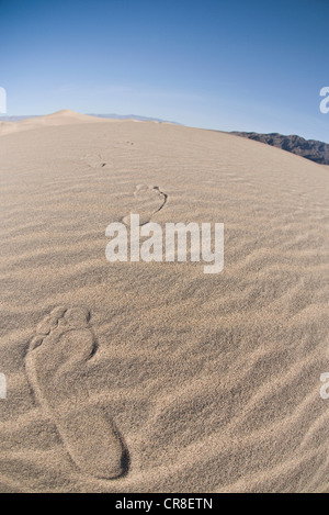 Footprints in sand dune in Death Valley National Park, California, USA Banque D'Images