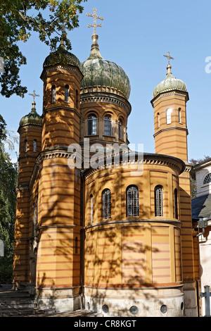 Chapelle Orthodoxe russe, mausolée de la grande-duchesse Maria Pavlovna, cimetière historique, Weimar, Thuringe, Banque D'Images