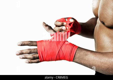 La main d'enrubannage Boxer Banque D'Images