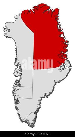 Carte politique de l'Autriche avec les plusieurs municipalités où le nord-est du parc national du Groenland est Banque D'Images
