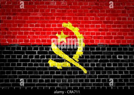 Une image de l'indicateur angolais peint sur un mur de briques dans une localisation urbaine Banque D'Images