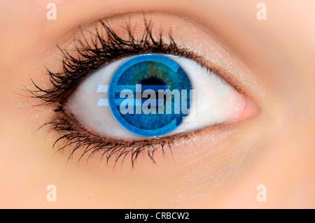 Vue détaillée d'un oeil avec un symbole de l'euro, l'image symbolique de l'avidité pour l'argent Banque D'Images