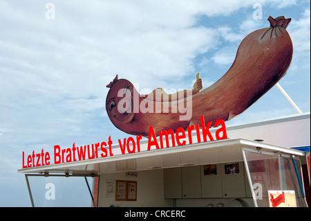 """Dernière 'boutique saucisse avant l'Amérique"""", Cabo Sao Vicente, plus occidentale de l'Europe de l'Algarve, Portugal Banque D'Images"""