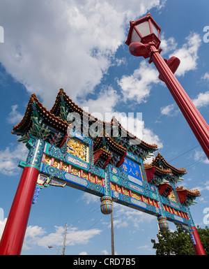 Passerelle de cérémonie à Chinatown, à Ottawa, de cérémonies d'accès à Chinatown, à Ottawa. Banque D'Images