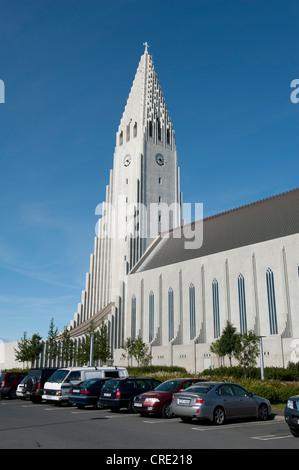 L'église Hallgrímskirkja, paroisse luthérienne, du centre-ville, Reykjavik, Islande, Scandinavie, Europe du Nord, Banque D'Images