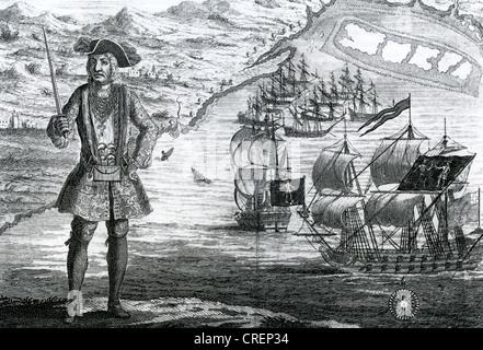 BARTHOLOMEW ROBERTS (1682-1722) alias Black Bart - pirate gallois à Ouidah sur la côte de Guinée de l'Afrique en Banque D'Images