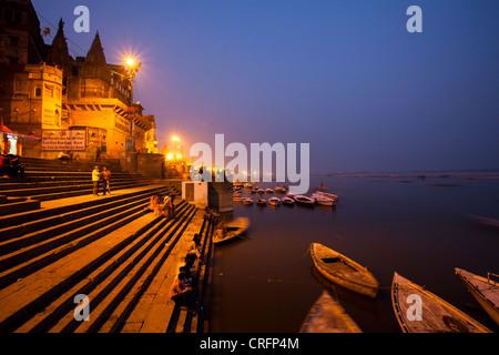 Paysage de Ghat de Varanasi, Uttar Pradesh, Inde Banque D'Images
