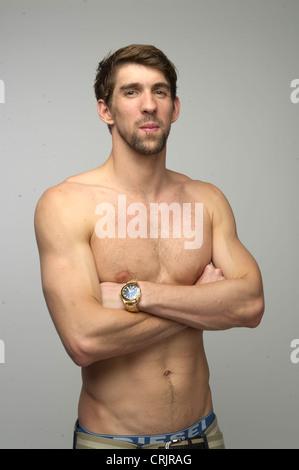 Le nageur américain Michael Phelps à la Team USA Media Summit à Dallas, Texas, dans l'avance des Jeux Olympiques Banque D'Images