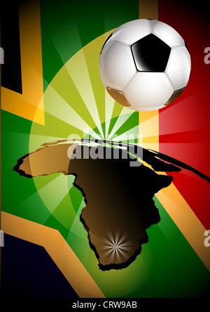 Drapeau de l'Afrique du Sud Ballon de soccer Background Banque D'Images