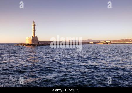 Phare, Chania, Crète, Grèce Banque D'Images