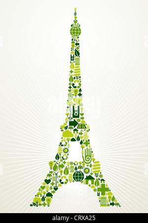Paris Go Green. Eco friendly jeu d'icônes en forme de Tour Eiffel. Couches de fichier vectoriel pour une manipulation Banque D'Images