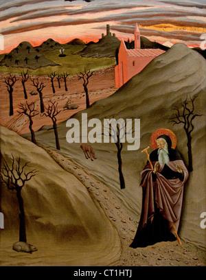 Saint Antoine l'Abbé dans le désert 1435 Osservanza Master Italien Sienne Italie 15e siècle Banque D'Images