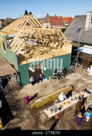 Vue aérienne de bâtisseurs sur place Banque D'Images