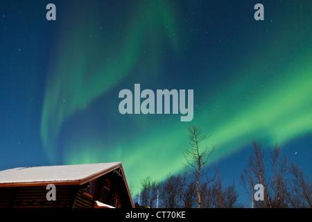 Northern Lights (aurores boréales) qui organisent dans le ciel du nord de la Norvège, Scandinavie arctique pendant Banque D'Images