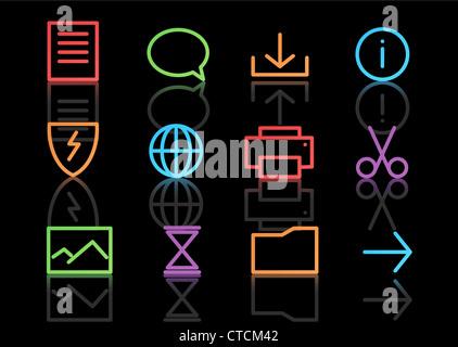 Vector set d'icônes simples néon élégant pour les fonctions de l'ordinateur commun Banque D'Images