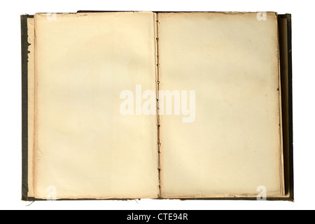 Livre vintage ouvert avec des pages blanches isolées sur fond blanc Banque D'Images