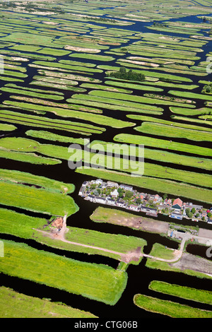 Les Pays-Bas, Jisp, aérienne, paysage de polders. Banque D'Images