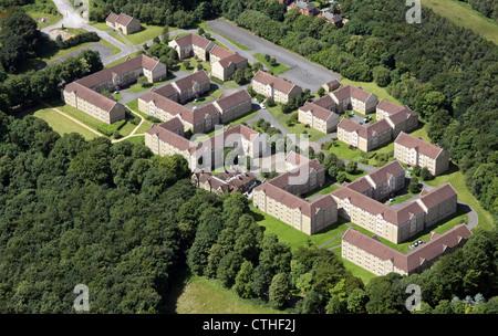 Vue aérienne de l'ancien hôpital Storthes Hall site près de Gandia, avec l'hébergement des étudiants de l'Université Banque D'Images