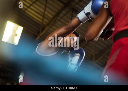 Sport et de personnes, deux hommes l'exercice et les combats en boxe de fitness Banque D'Images