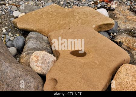 Des rochers de grès côtiers sculpté par l'action des marées sur la rive du détroit de Juan de Fuca, Pointe Whiffen Banque D'Images