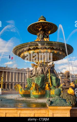 Fontaine des fleuves - Fontaine de rivières (1840), Place de la Concorde, Paris, France Banque D'Images