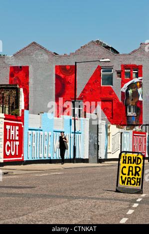 Dans les murs d'Hackney Wick repeint, Londres, Royaume-Uni Banque D'Images