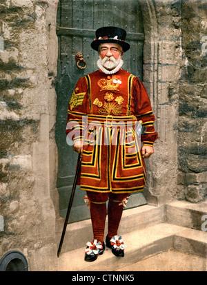 Un yoeman de la garde (Beefeater), Londres, Angleterre, vers 1900