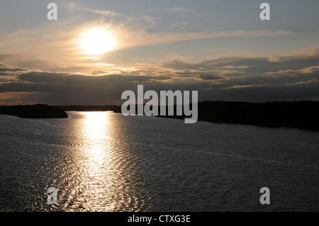 Coucher du soleil sur l'archipel de Stockholm