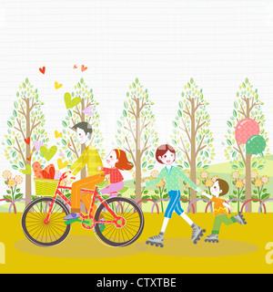 Family riding bicycle et roller skate dans la mai Banque D'Images