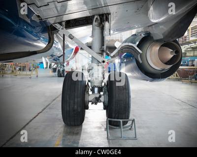 Close up of airplane wheels in hangar
