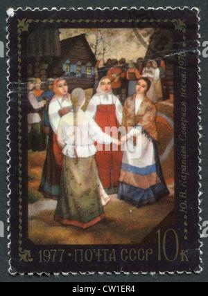 Urss-circa 1977: timbre-poste imprimé en l'URSS, montre une peinture de Y.V. Karapaev 'Nord', chanson Folk Festival, Banque D'Images