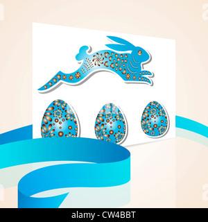 Beige bleu carte joyeuses Pâques avec des œufs et bunny à partir de papier Banque D'Images