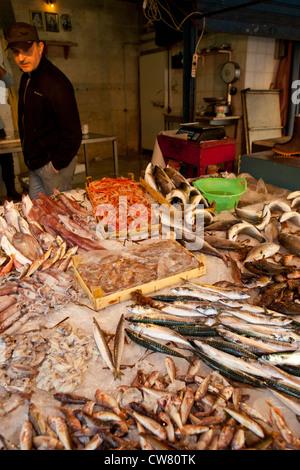 Stand de poissons, marché Ballaro, Palerme, Sicile, Italie Banque D'Images