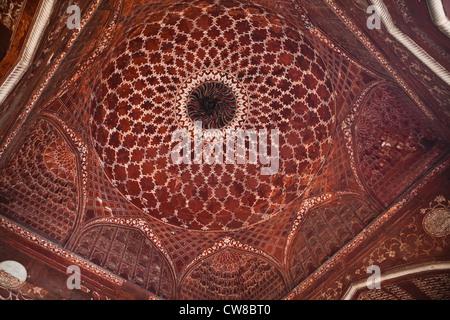 Détail de la coupole de la mosquée du Taj Mahal Banque D'Images