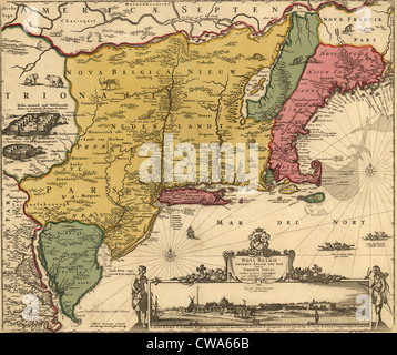 17e siècle plan de terre qui est devenu la Nouvelle Angleterre, New Jersey et New York. La carte comprend un point Banque D'Images