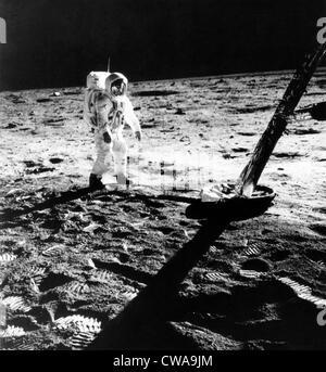 L'astronaute Edwin E. Aldrin (alias), Buzz Aldrin sur la lune, dans une photographie prise par Neil Armstrong, 1969.. Banque D'Images
