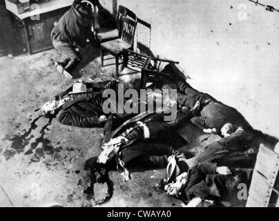 Gangsters, le massacre de la Saint-Valentin, Chicago, le 14 février 1929. Banque D'Images
