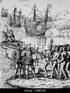 """Débarquement de Christophe Colomb à Hispaniola en 1492, gravure de Herrera, """"Historia general de los hechos De Los"""
