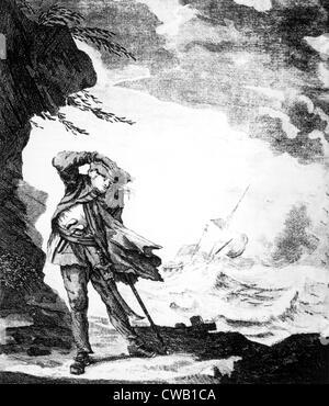 Edward Low, (alias Edward Lowe), pirate anglais illustré sur la rive en regardant un navire sombrer dans un ouragan, Banque D'Images