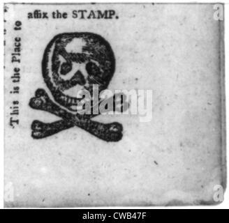 Le Stamp Act de 1765, 'c'est la place d'apposer le timbre', illustration de la Pennsylvania Journal hebdomadaire et